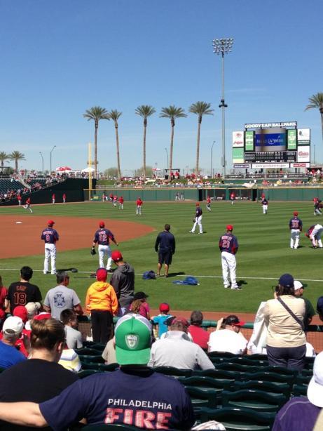 Today's seats at Goodyear Ballpark. Absolutely perfect.